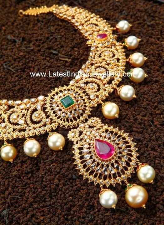 Uncut Diamond Necklace Pearl Drops