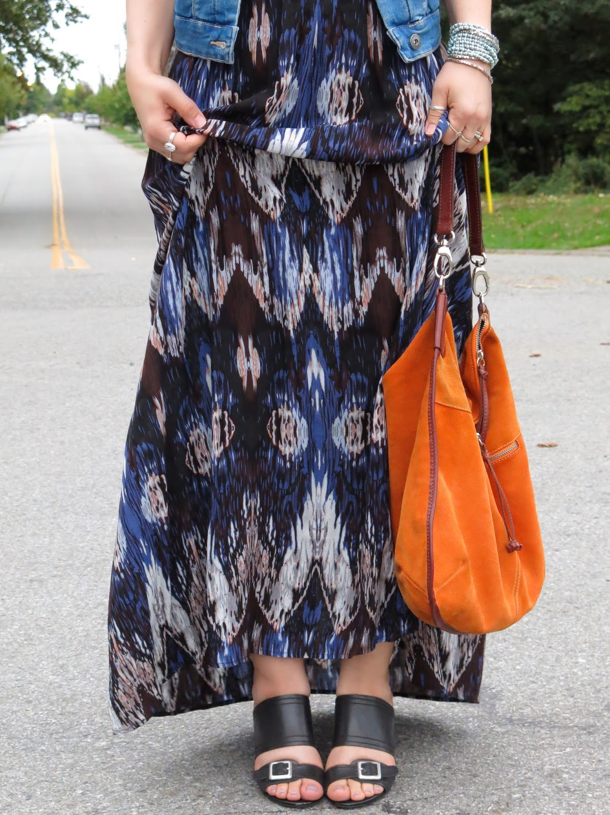 printed maxi-dress, Franco Sarto wedges, and orange suede bag