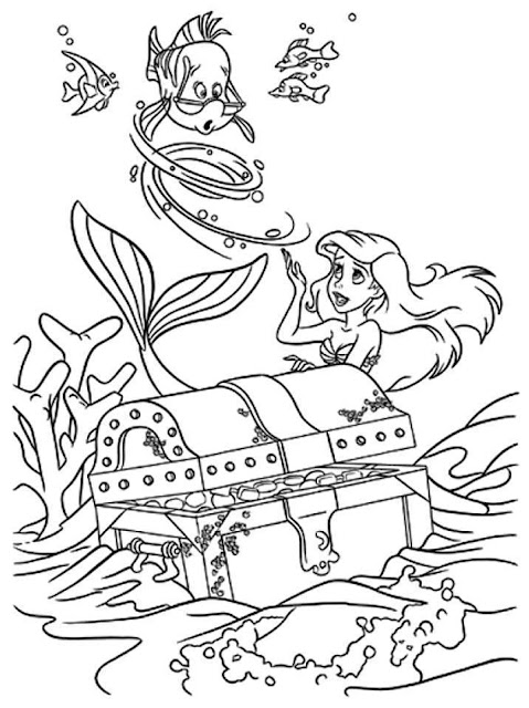 little mermaid treasure chest coloring page