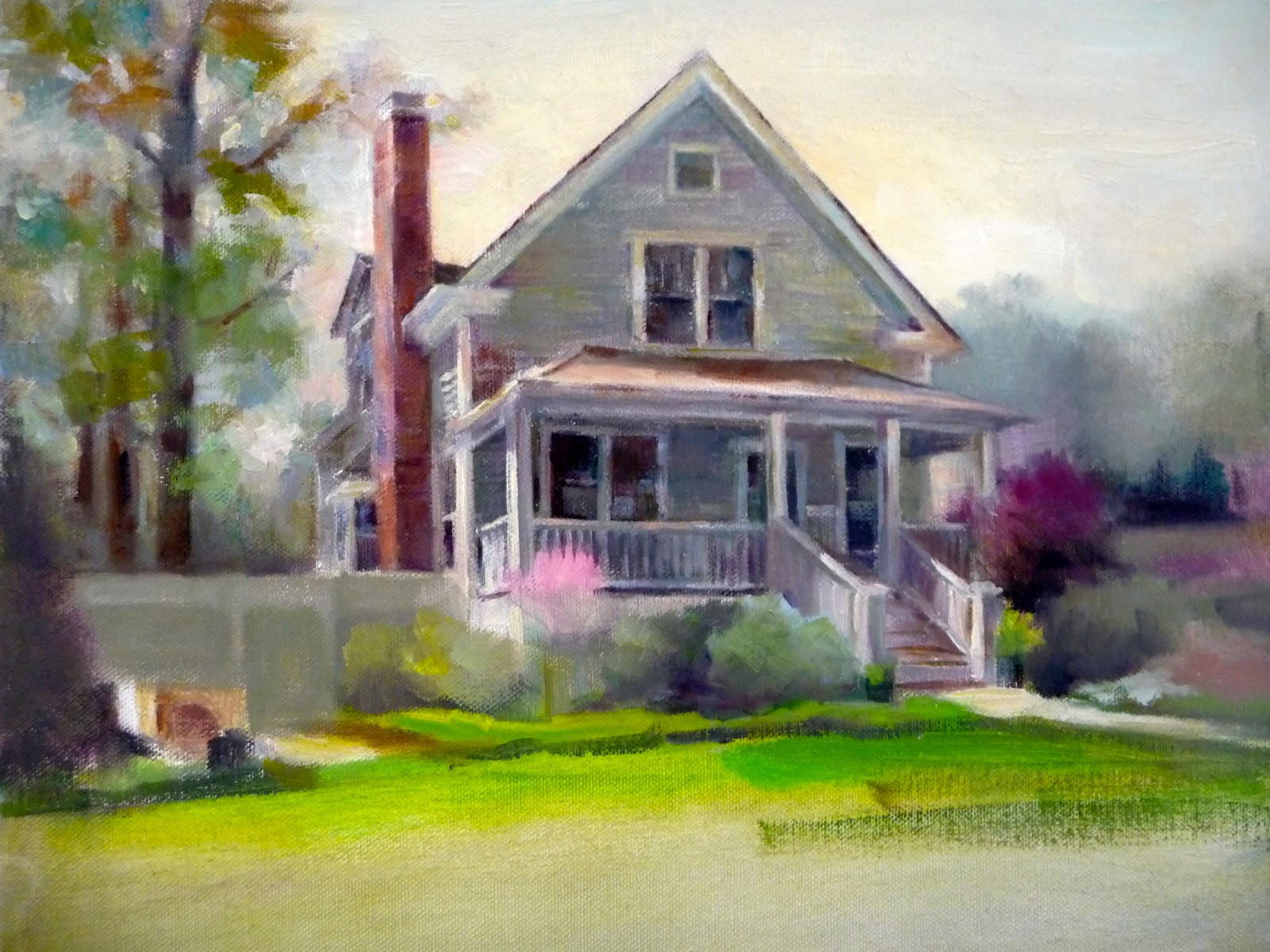 Home sweet home painting -  Line On The Right Side Of The Painting In The Reference Photos You Can See Another House On The Right Side Which I Did Not Include In My Composition