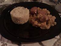 Albondigas con salsa de manzana y curry