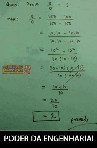 Prove que 0/0 = 2