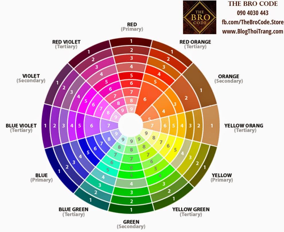 Bảng các màu sắc cơ bản trong phối hợp quần áo