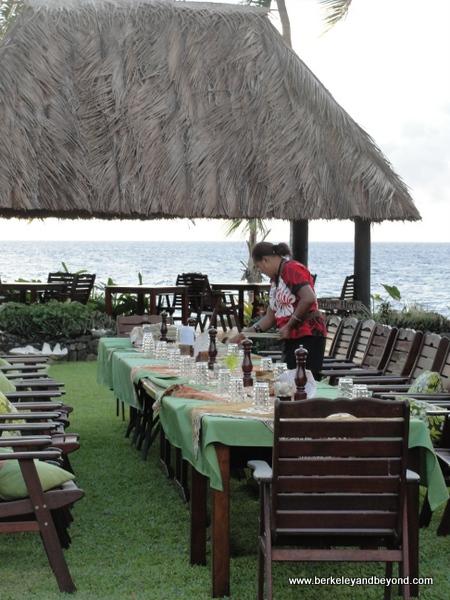 setting table for Fijian Lovo Feast at Paradise Taveuni in Fiji