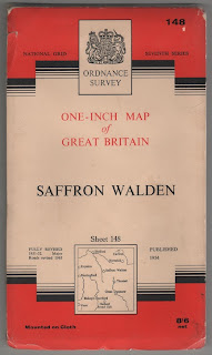 1963 Ordnance Survey, cloth map of Saffron Walden, Essex