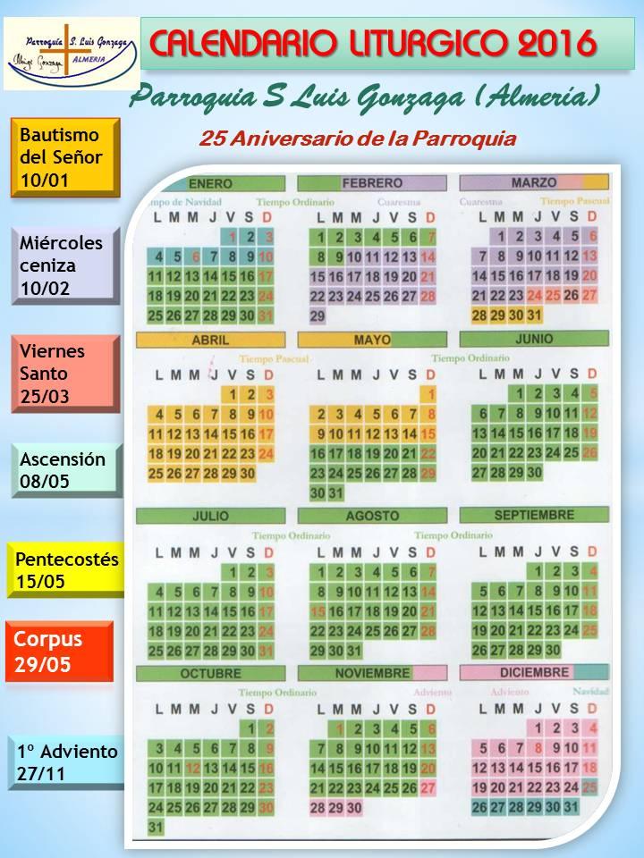 Calendario Catolico 2016 | Calendar Template 2016