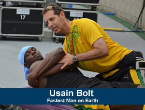 Michael L. Douglas, D.C., chiropractic adjustment on Usain Bolt