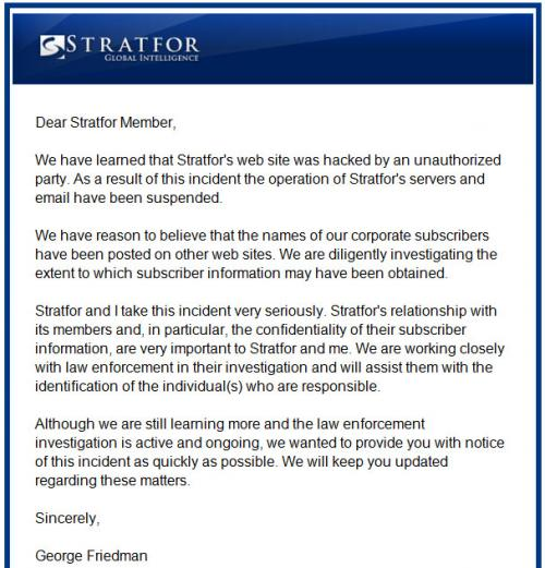 Stratfor Hacked By Anonymous Hackers For AntiSec