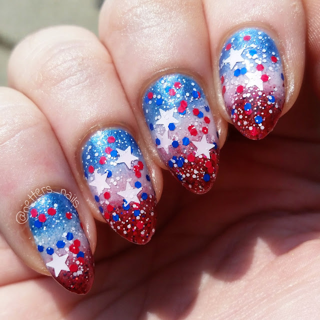 Sinful colors Star Blast Off over red white and blue gradient
