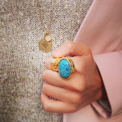 Monica Vinader, YSL, arty ring, jewellery, necklace, gold necklace, pendant, turquoise ring, statement ring