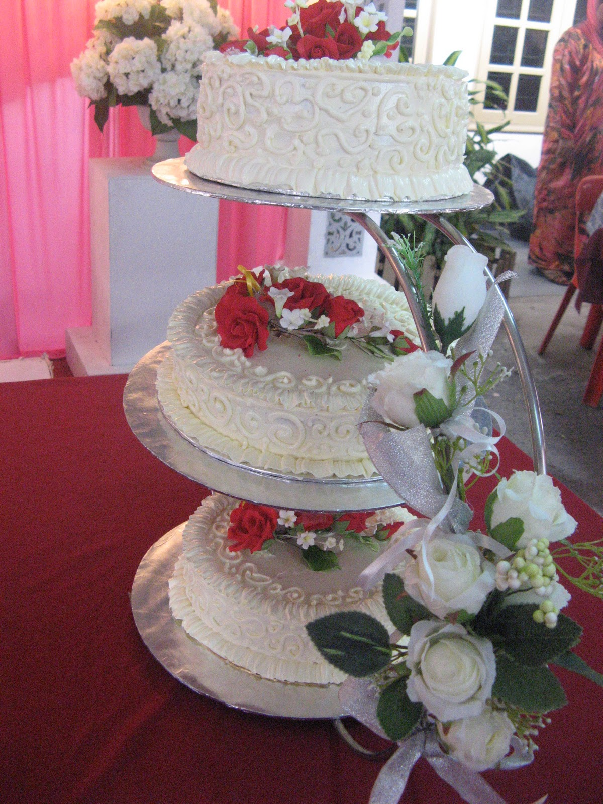 BAKERINACAKE 3 TIER WEDDING CAKE RED N WHITE THEME