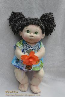 fretta textile baby doll 38 cm 15 curly dark brown