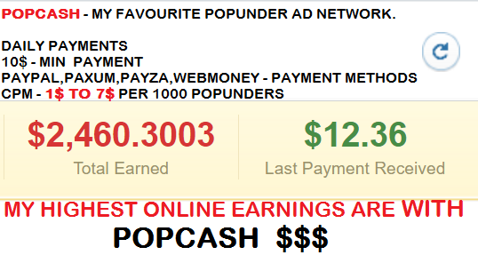 POPCASH best popunder network in the world