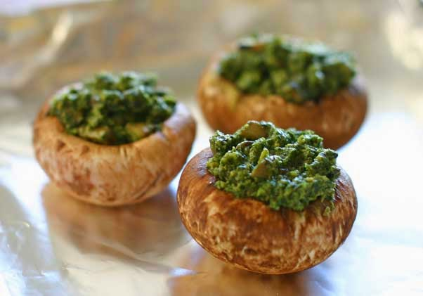 Roasted, Pesto Stuffed Mushrooms