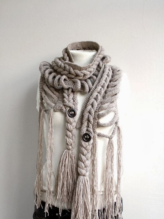 Milky Brown Wool Scarf with Brown Button