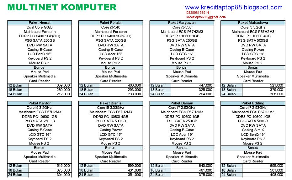 Laptop Kredit Lainnya Price List