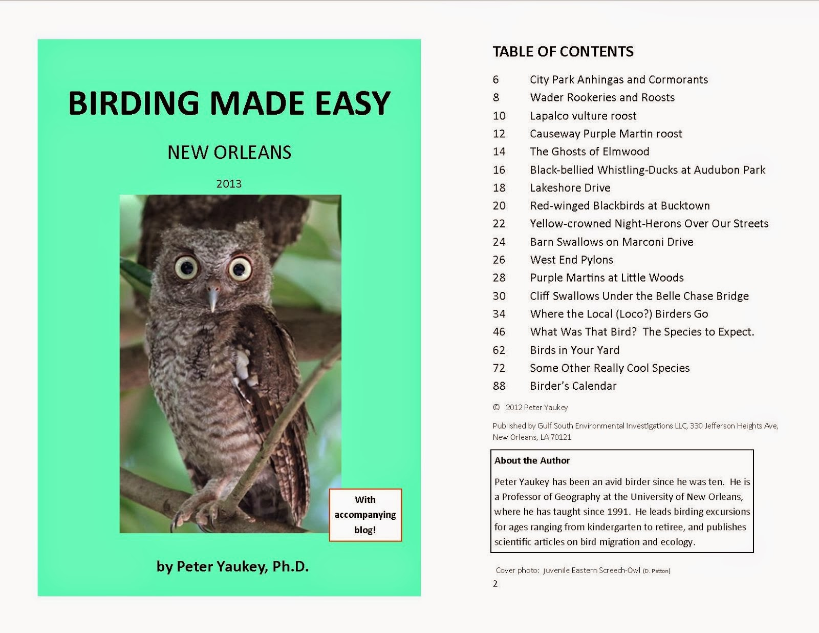 LOCAL GUIDE BOOK:  BIRDING MADE EASY- NEW ORLEANS