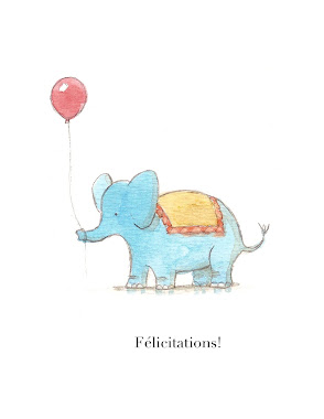new baby card (blue elephant) french/english