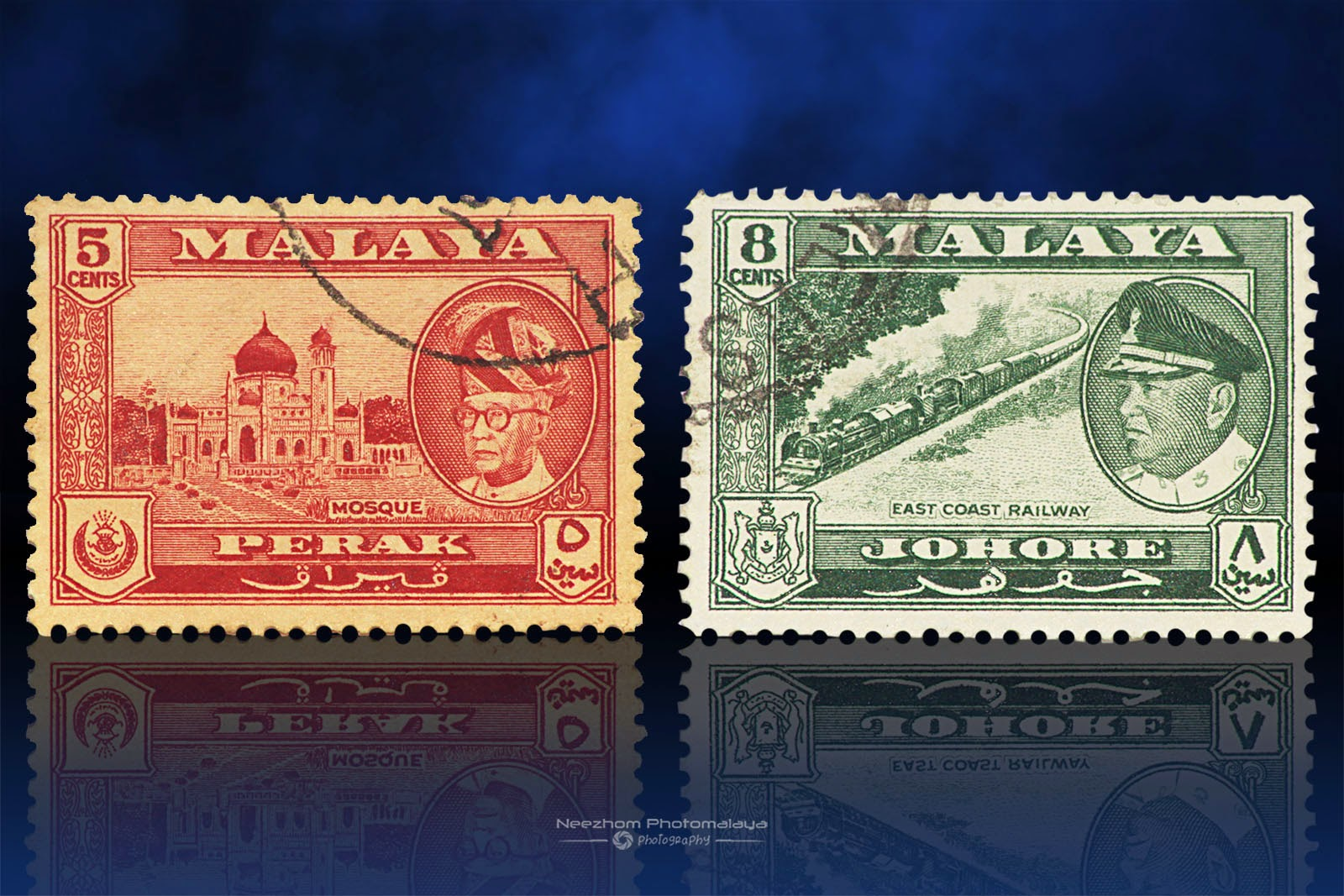 Malaya  1957 - 1961 stamps 5 Cents, 8 Cents