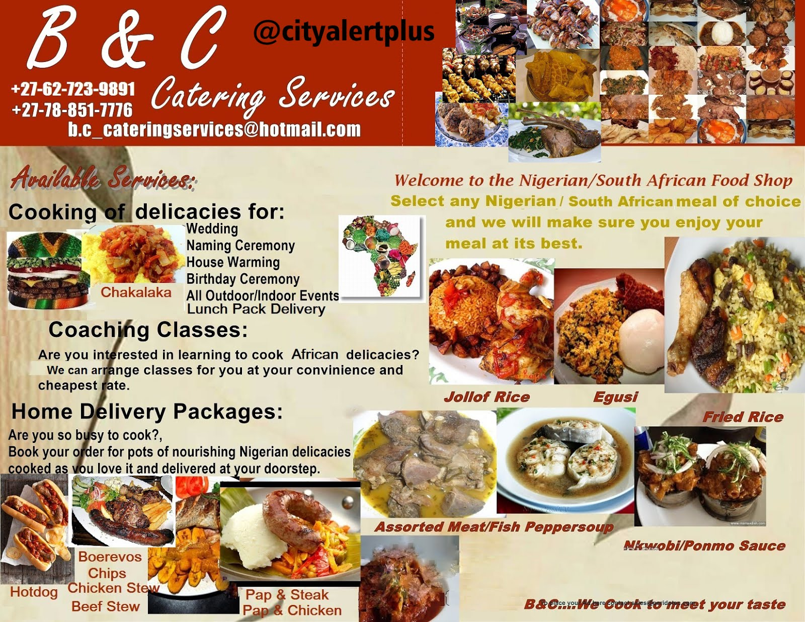 "African Food ""Catering Service""  around RSA"
