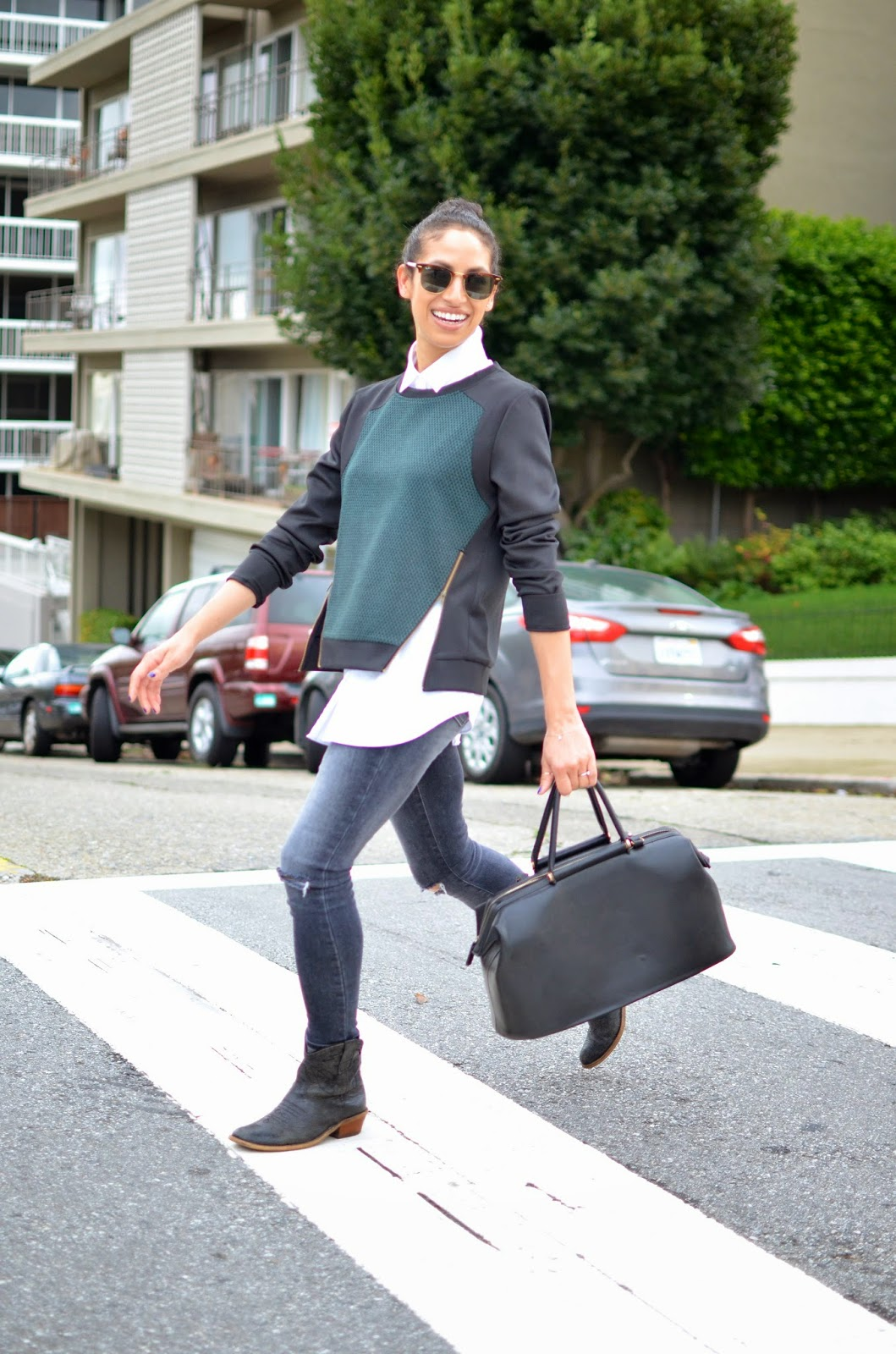 Allergic to Vanilla style blog- zippered sweater, Le Tote, Lush clothing, SF style, tom boy chic, street style