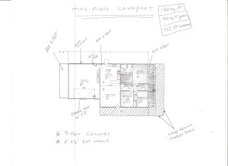 Sketch for modifying a standard pre-engineered plan for a home kit