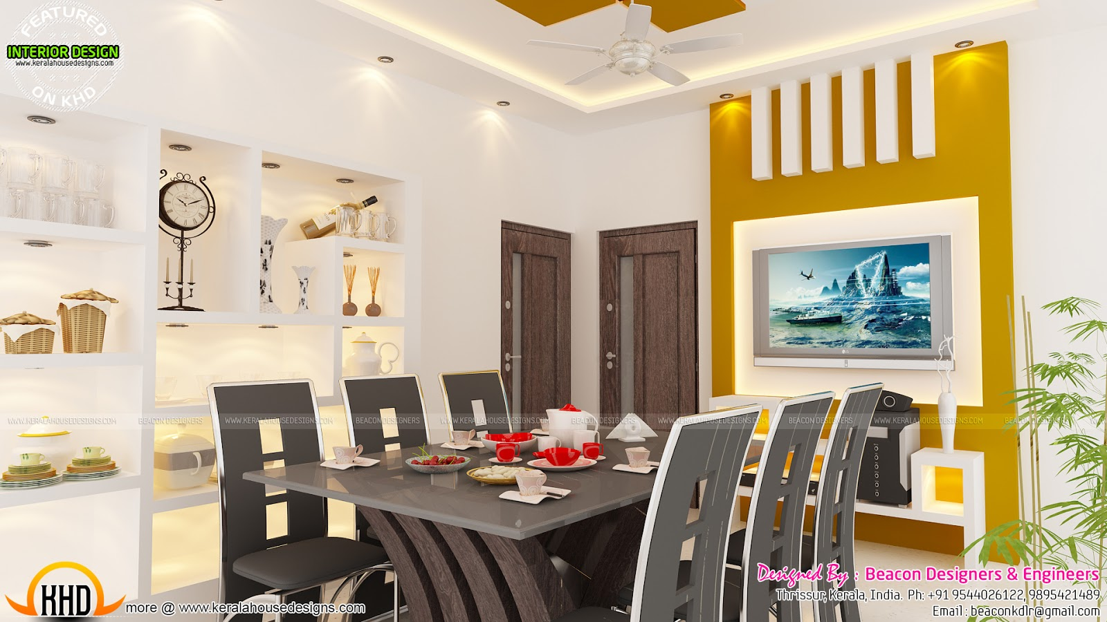 Kerala interior designs kerala home design and floor plans for Dining room designs kerala