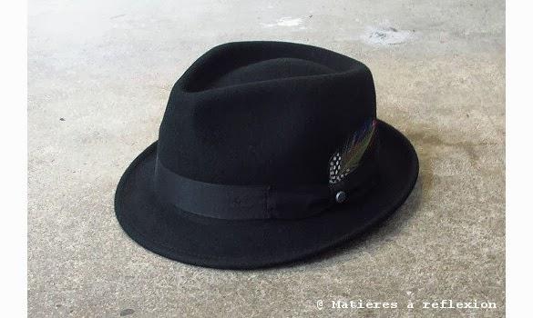 Chapeau Stetson noir en laine Richmod avec une plume