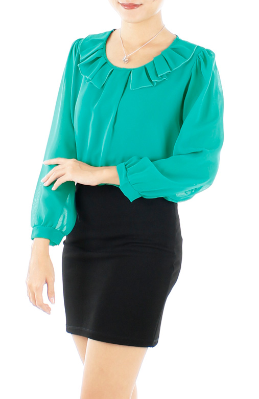 Daylily Wide Pleat Long Sleeve Blouse