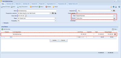 Anlegen einer Opportunity in Workbooks mit besonderer Hervorhebung von Type, Status und Line Items
