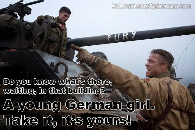 Logan Lerman and Brad Pitt in Fury movie still meme troy