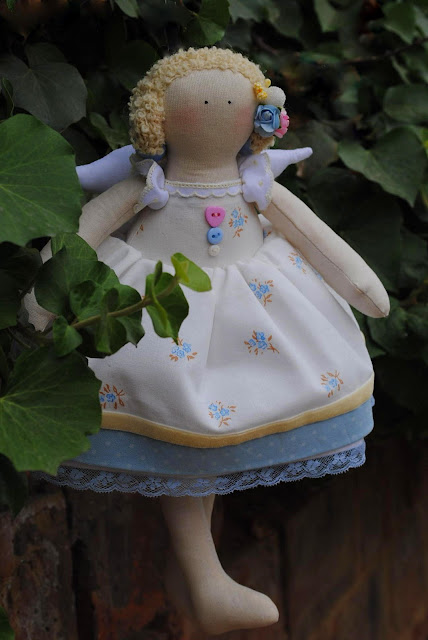 Tilda doll, handmade,  Ukraine, Odessa, blue, pink, yellow, fairy, angel, princess, kids, for kids, children, gift, gifts present, spring, summer, buttons