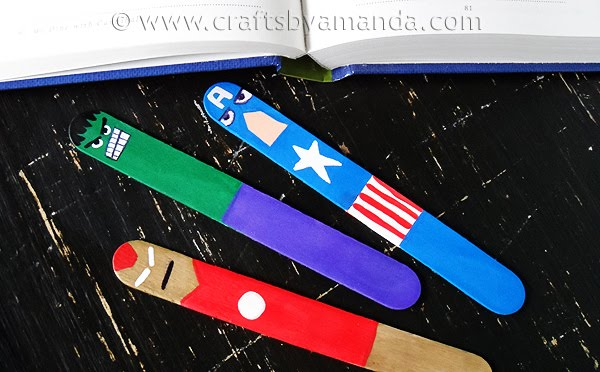The Avengers bookmarks made from popsicle sticks, awesome, cool, pictures