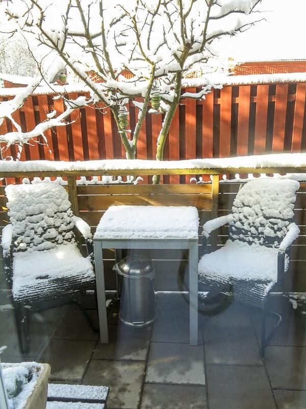 snö, uteplats