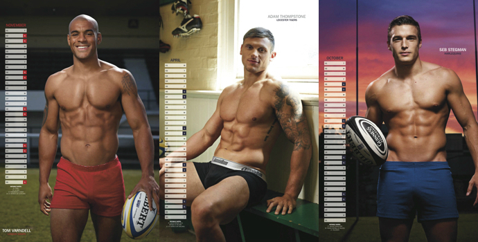 'Rugby's Finest' - 2013 • From left to right: Tom Varndell, Adam Thompstone and Seb Stegmann • Rugby Union Players