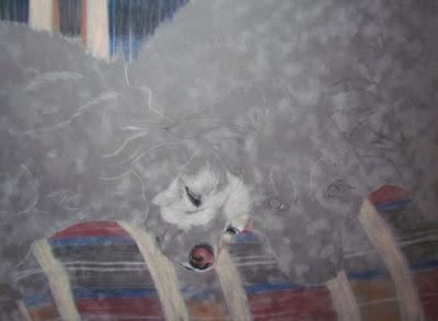 dog portrait progress step 1