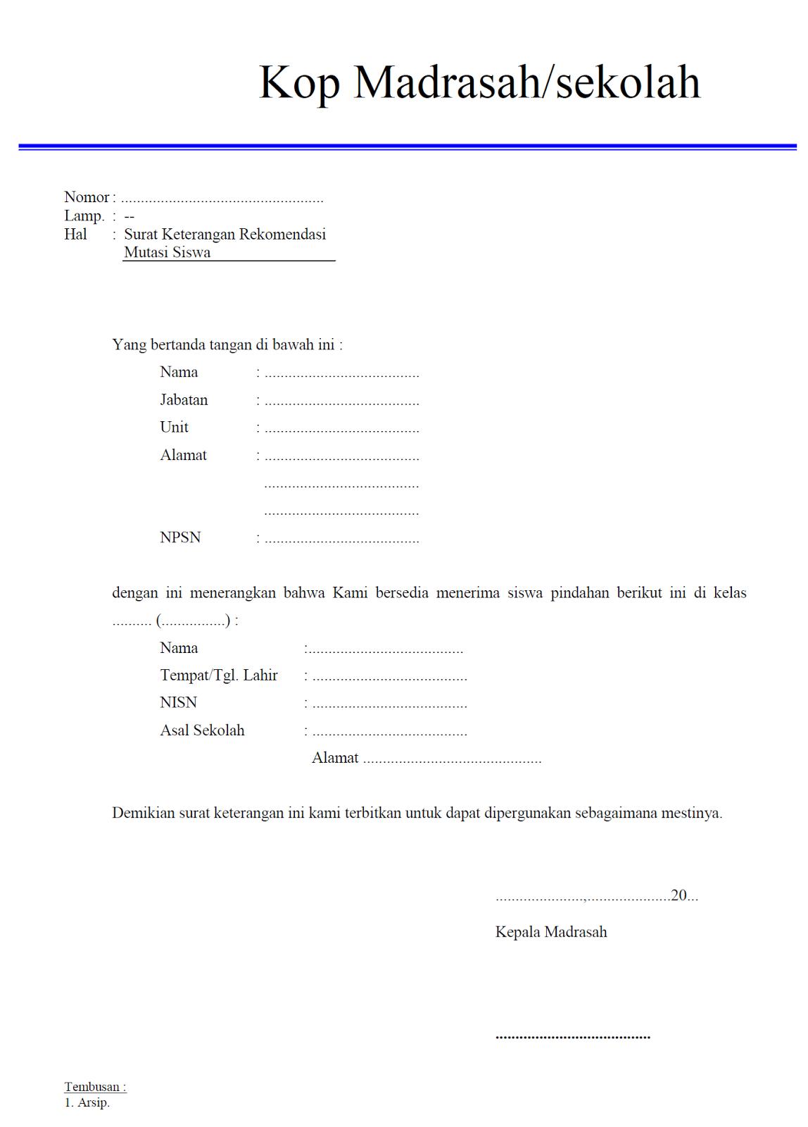 MTs. AMIN DARUSSALAM: Contoh Surat-Surat untuk Keperluan ...
