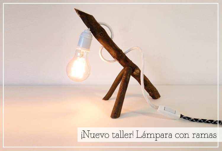 taller lampara ramas DIY
