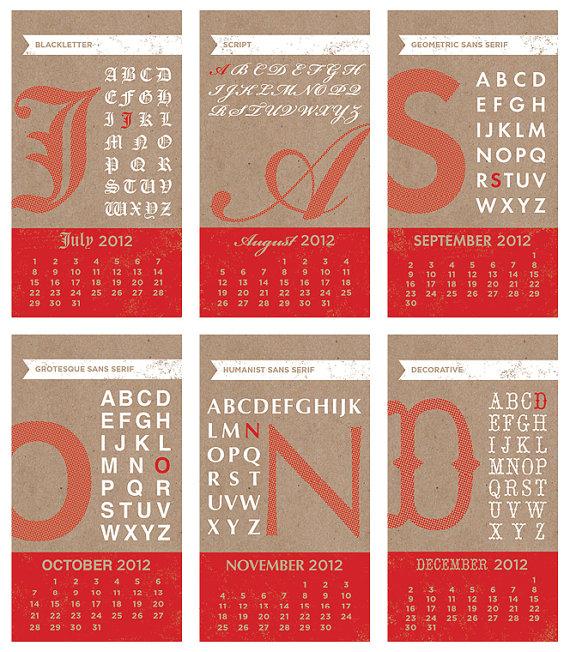 Typography Printable Calendar : Design inspiration calendars typography