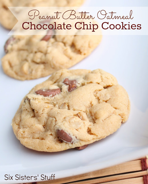 Peanut Butter Oatmeal Chocolate Chip Cookies Recipe | Six Sisters ...