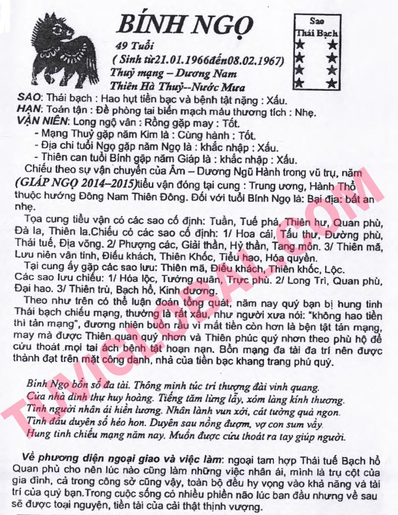 Tử vi tuổi Bính Ngọ nam mạng - Thái Ất tử vi 2014 Giáp ...