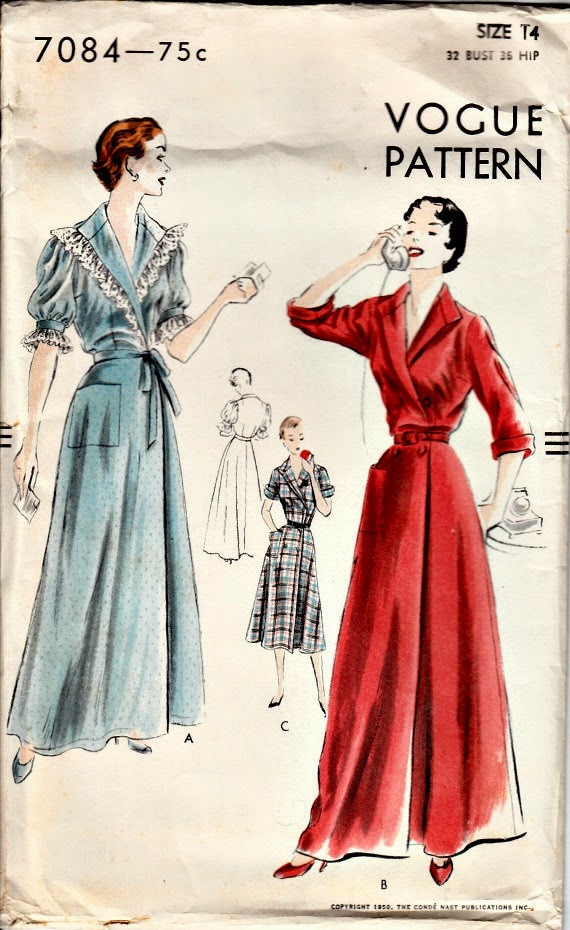 1950's Vintage Pattern Lovely Wrap Housecoat