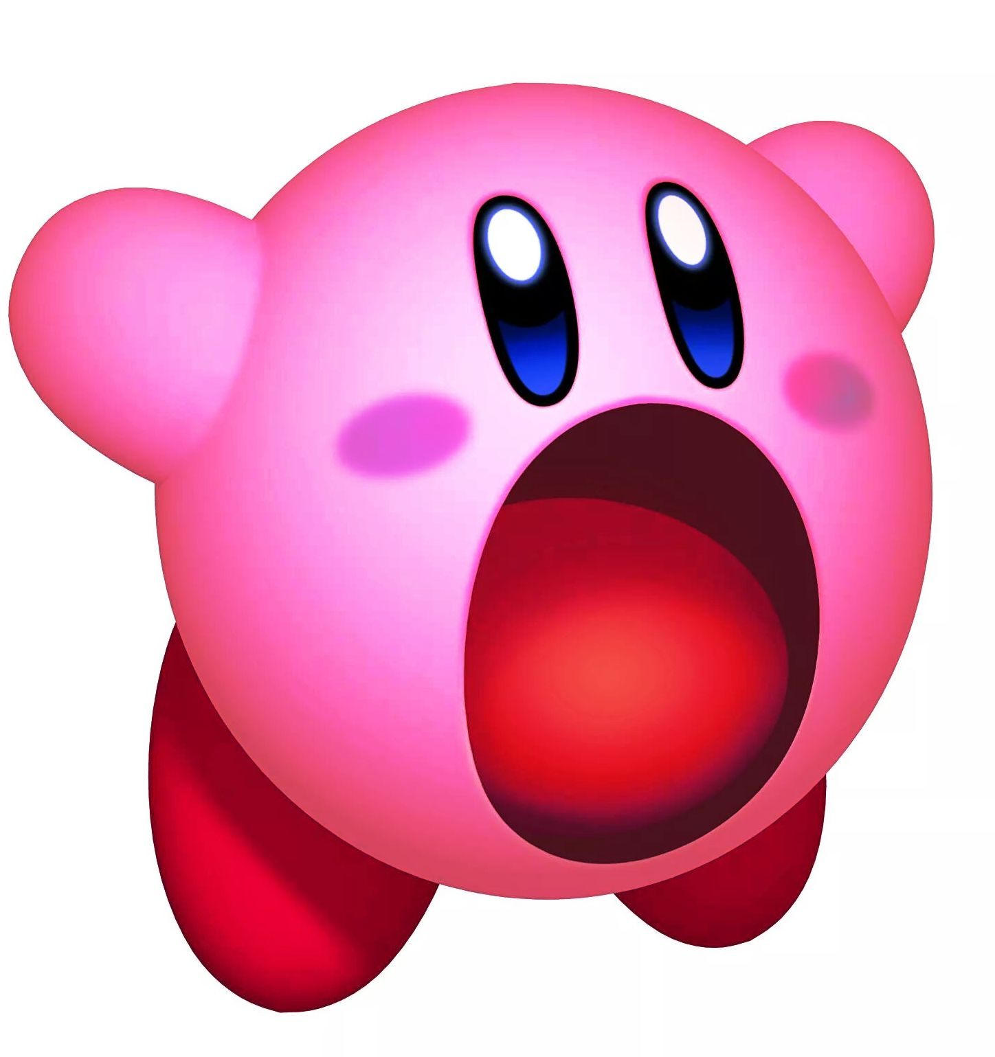 Imgagen con Kirby aspirando fuerte