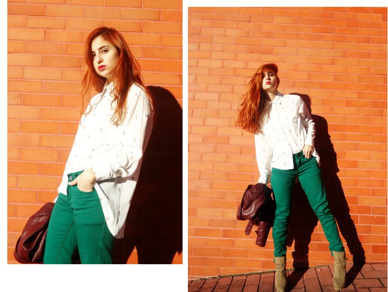 casual street style, shirt with crosses and green