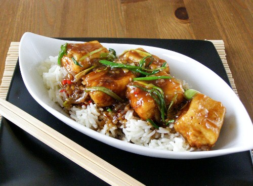 Crispy Fried Tofu in a Spicy Teriyaki Sauce