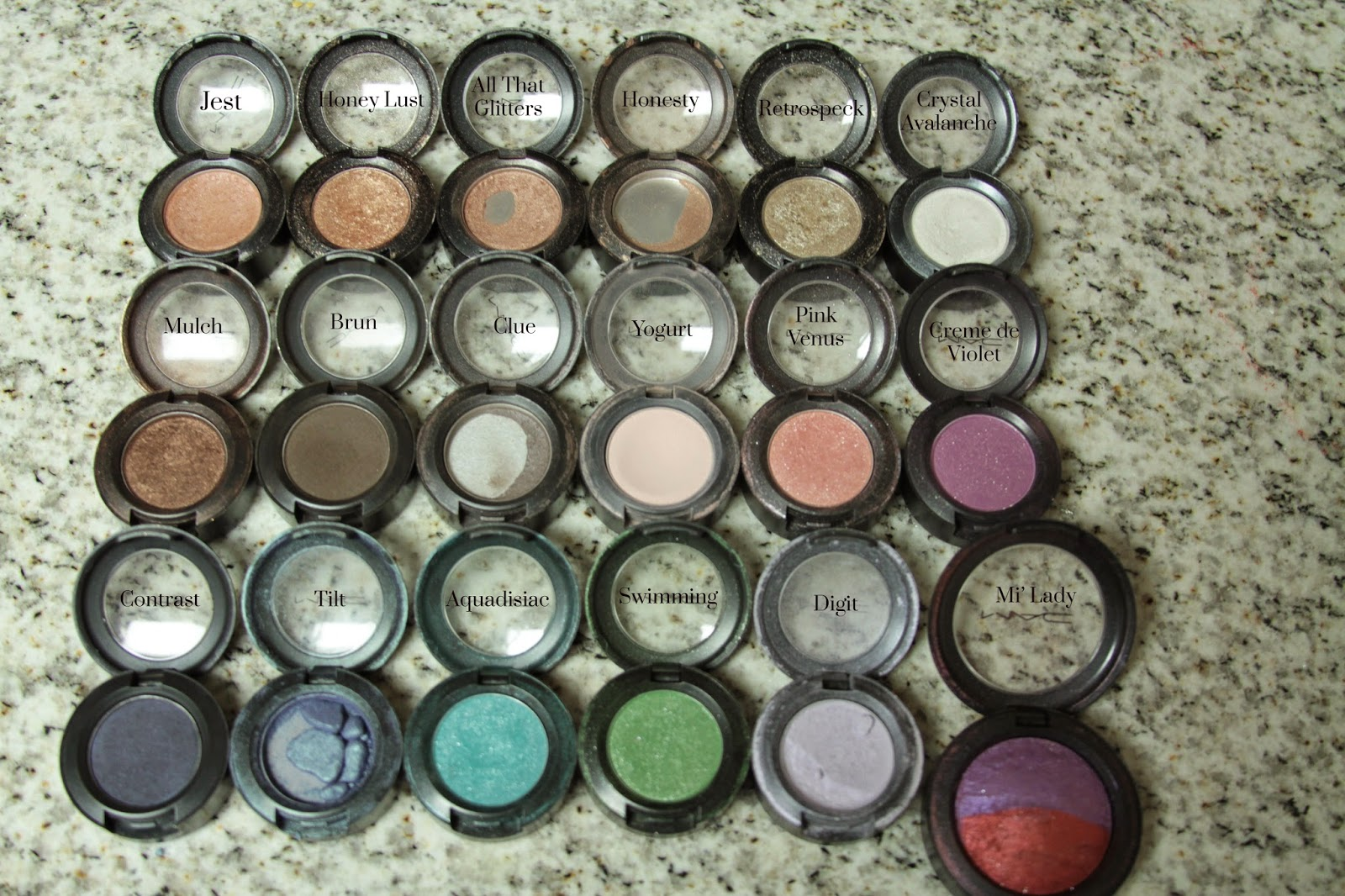 MAC Cosmetics Eyeshadow Collection Labeled