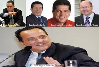 Os deputados, Stepan Nercessina, Carlos Leréia, Sandes Junior, além do senador Demóstenes Torres, mantinham relações suspeitas com Carlinhos Cachoeira
