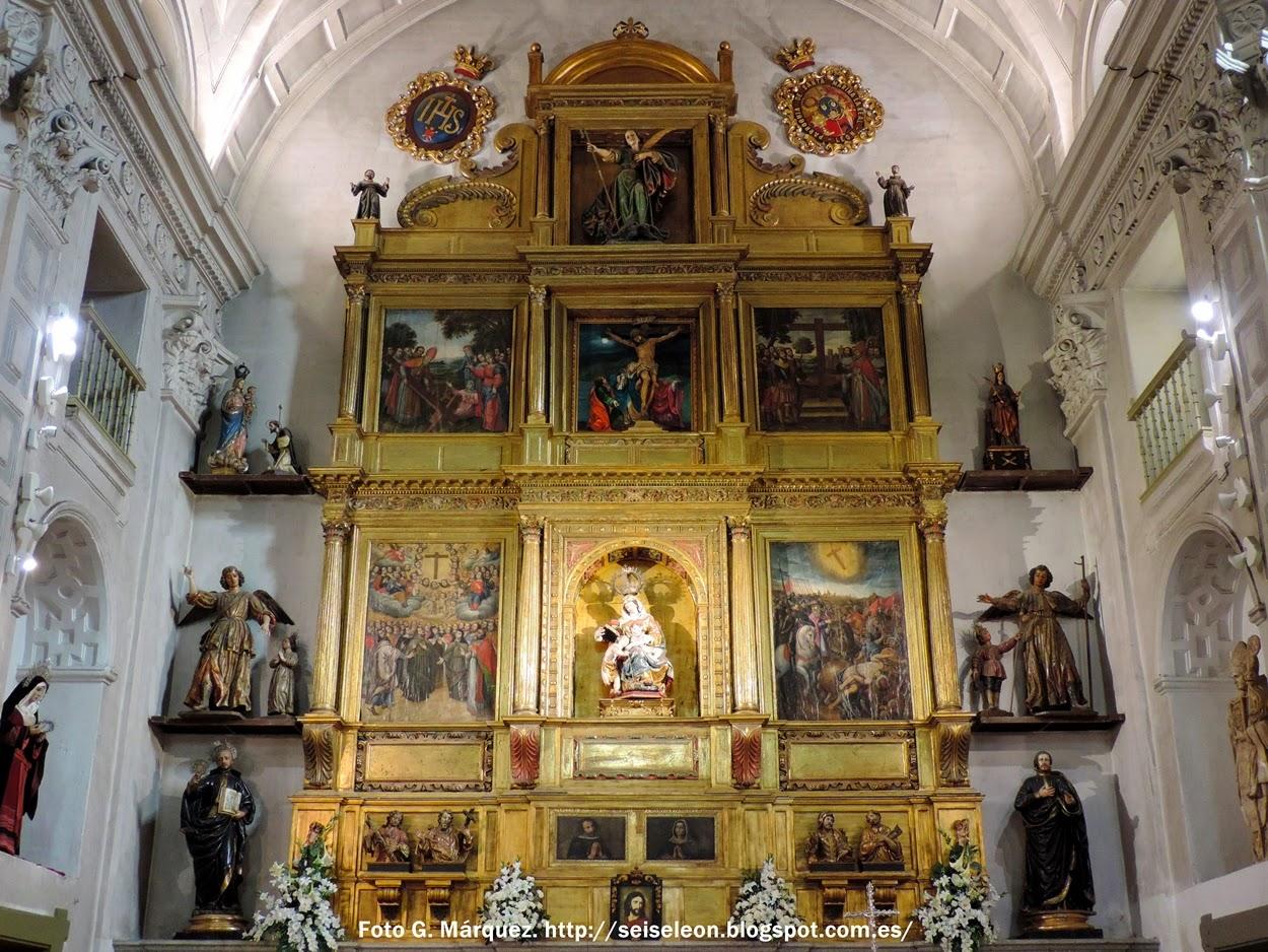 Retablo de la Sant Cruz con Nuestra Señora del Rosario. Iglesia de Santa Marina. León. Foto G. Márquez