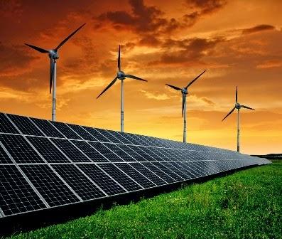 Painéis solares e turbinas de vento