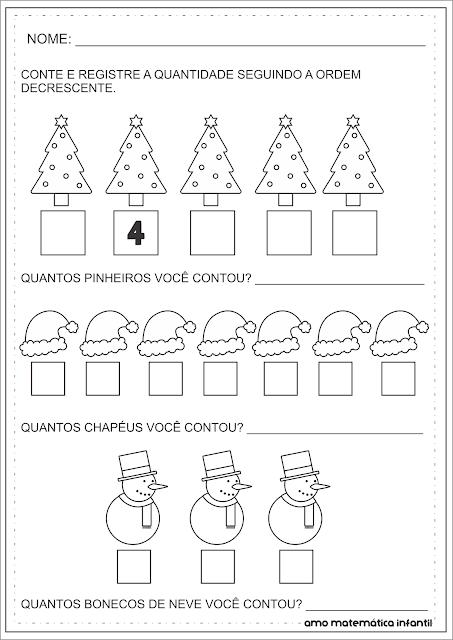 Ordem Decrescente Natal Atividade Matemática